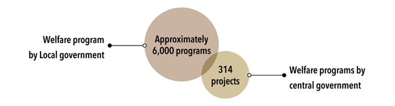 Welfare program by Local government : Approximately 6,000 programs, Welfare programs by central government : 314 projects