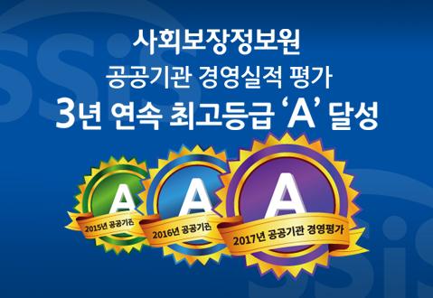 사회보장정보원, 경영평가 3년 연속 A등급 달성