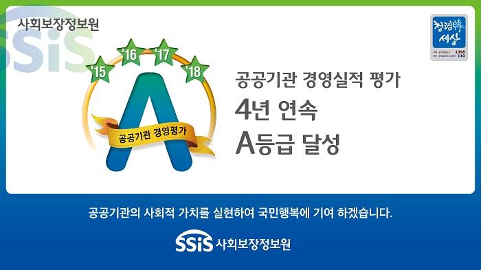 사회보장정보원, 공공기관 경영평가 4년 연속 A등급 달성