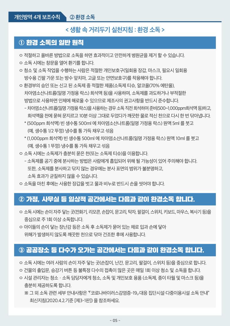 코로나19 생활속 거리두기 기본지침 5/7
